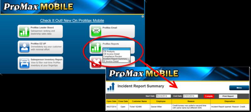 PMM Reports Menu