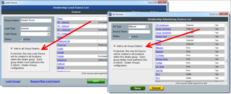 Ad Source Lead Source add to all group dealers
