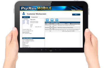 PMM Customer Workscreen tablet