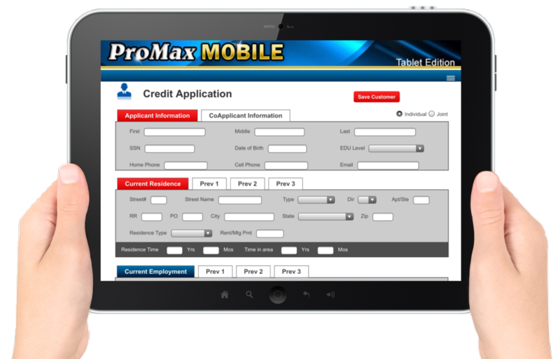 PMM Credit App tablet
