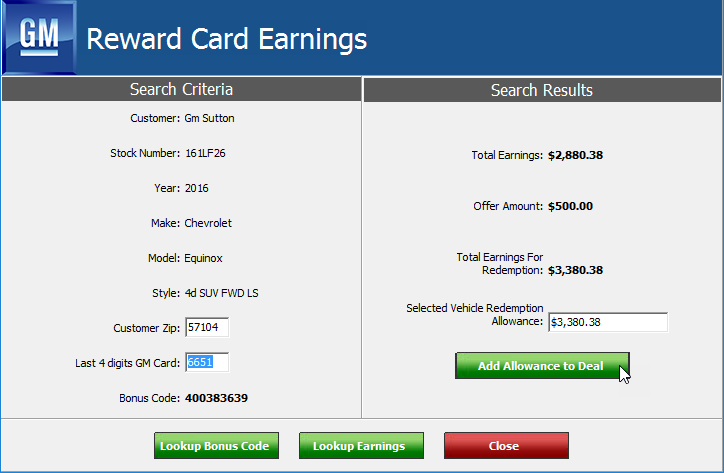 GM DTAP Reward Card Earnings popup