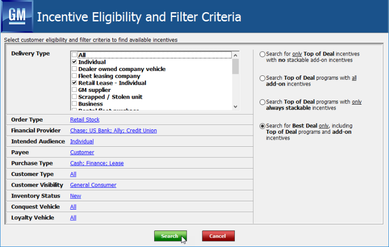 GM DTAP Incentive Eligibilty and Filter Criteria popup