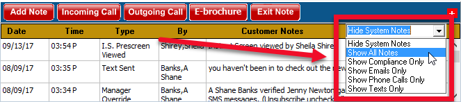 Customer Workscreen Notes Filtering Dropdown