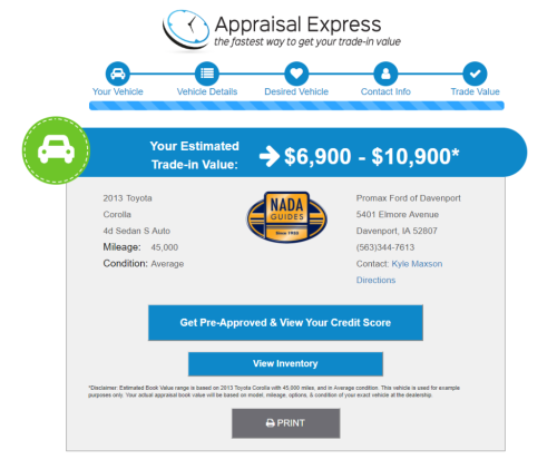 Appraisal Express trade value screen