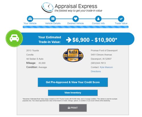 Appraisal Express trade value screen