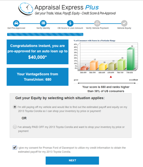 Appraisal Express Plus cb score screen