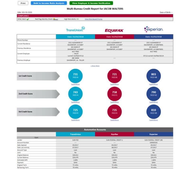 Multi-Bureau Solution credit report