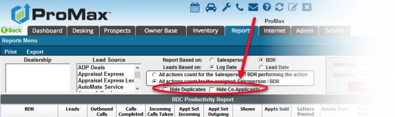 BDC Productivity Report Hide CoApps