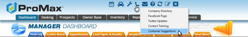 Customer Suggestion Portal in ProMax