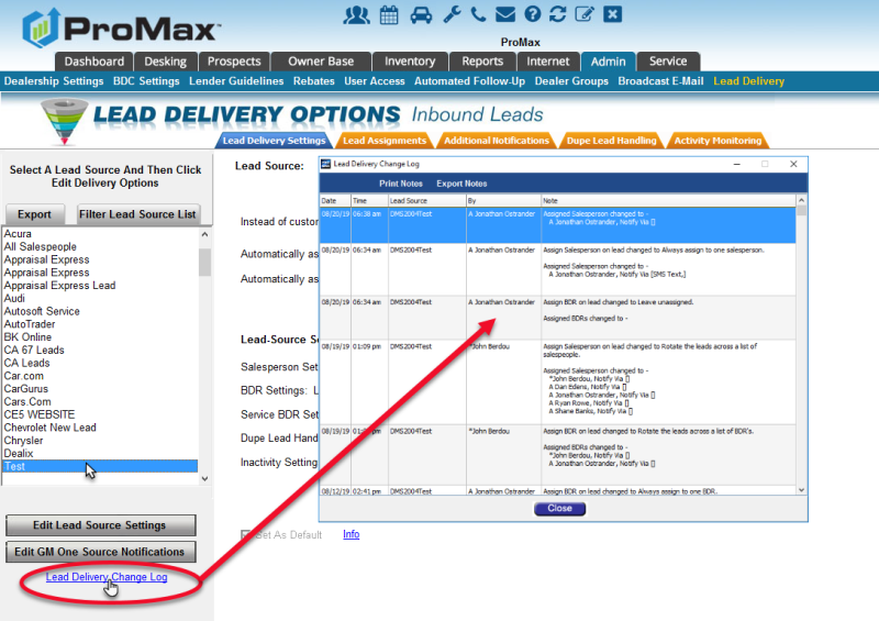 Lead Delivery Change Log